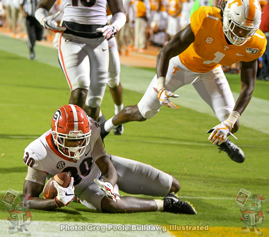 Tae Crowder (30) with a 60-yard 'scoop and score' on a fumble recovery during the third quarter of the Tennessee game, Saturday, October 5, 2019