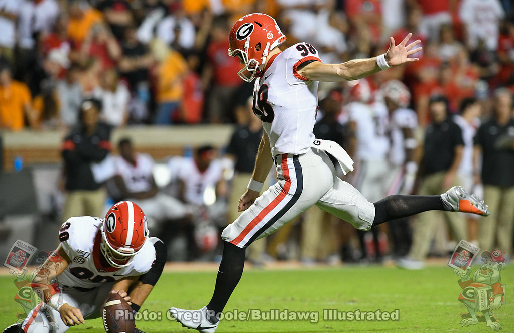 Rodrigo Blankenship (98), Georgia vs. Tennessee - Fourth Quarter,  Saturday, October 05, 2019