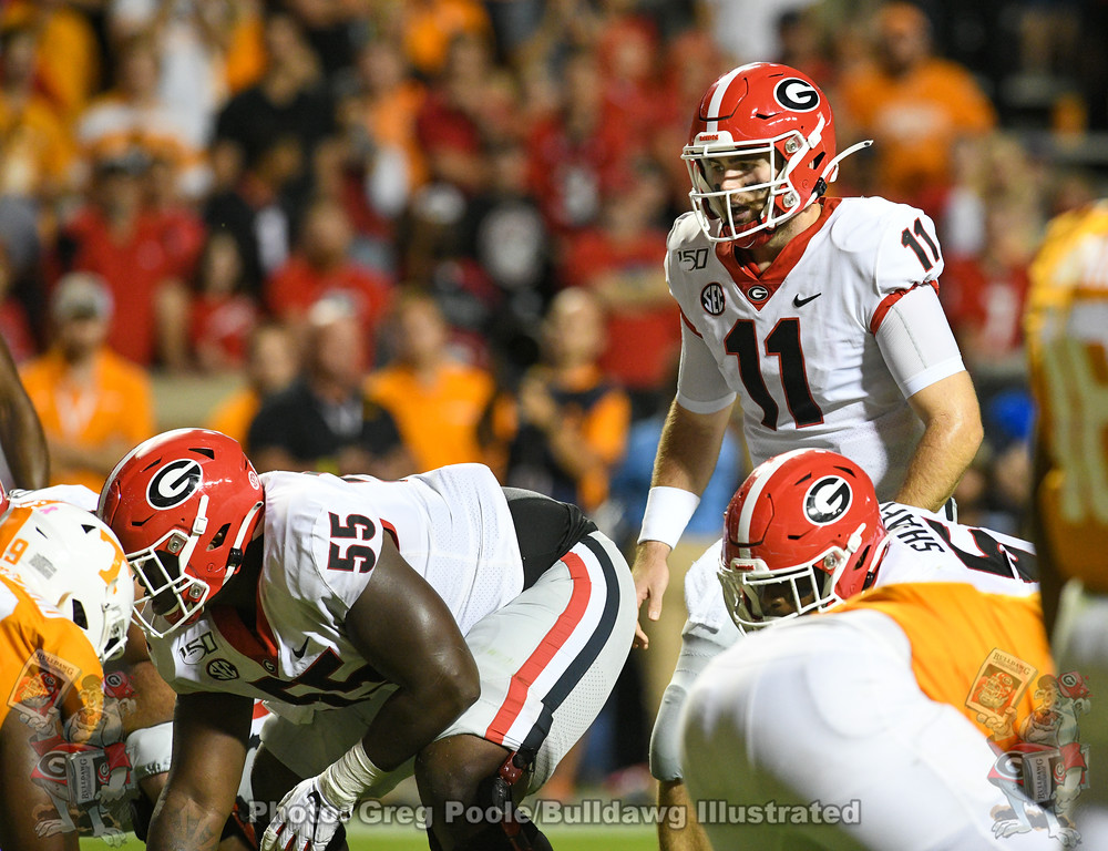 Quarterback Jake Fromm (11) and center Trey Hill (55),  Georgia vs. Tennessee, Saturday, October 5, 2019