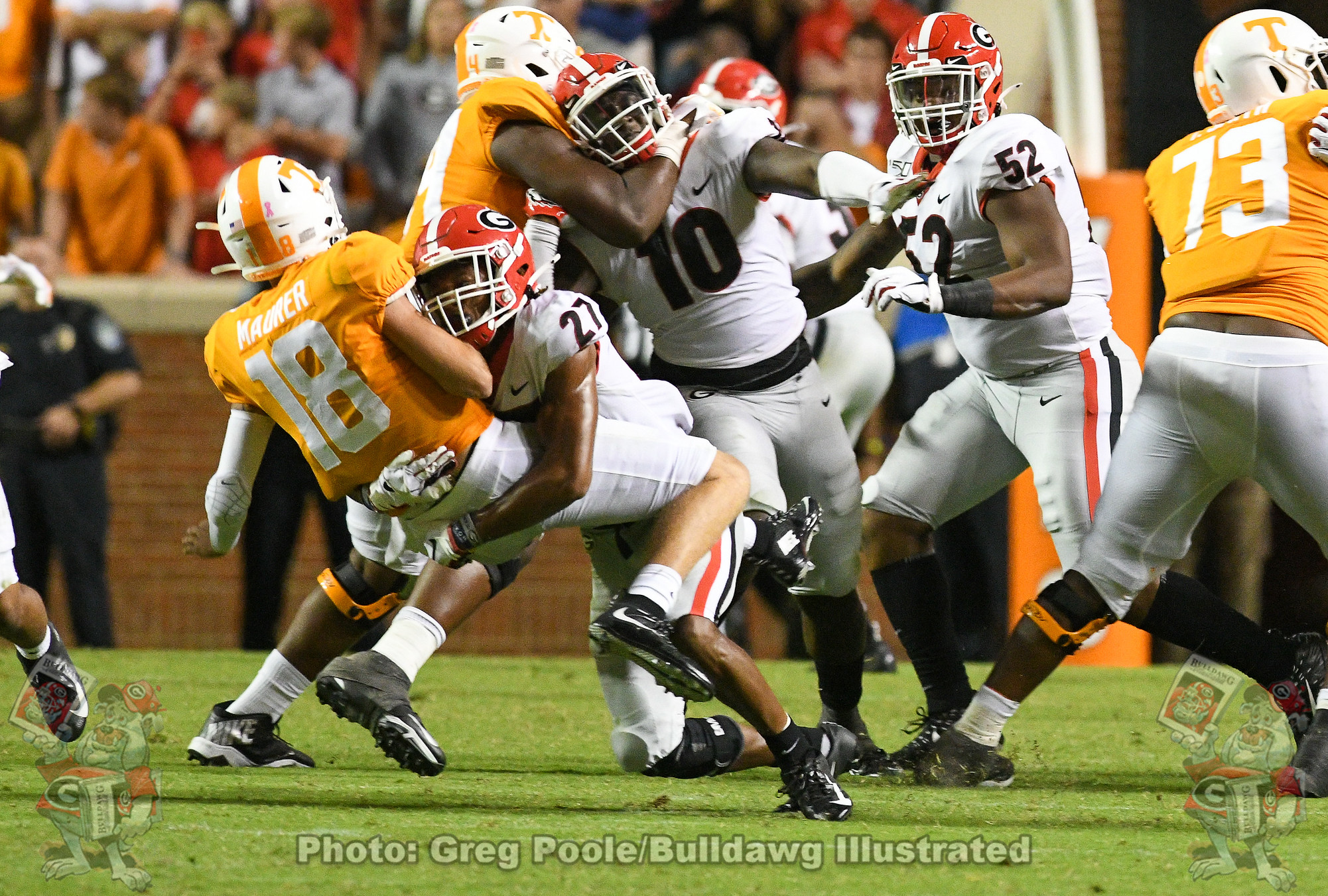 Eric Stokes (27) with the sack