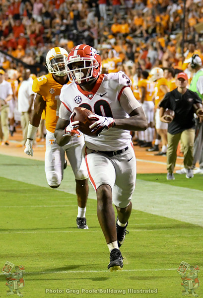 Tae Crowder (30) races towards the end zone after recovering a Vols' fumble, Georgia vs. Tennessee - Fourth Quarter, Saturday, October 05, 2019