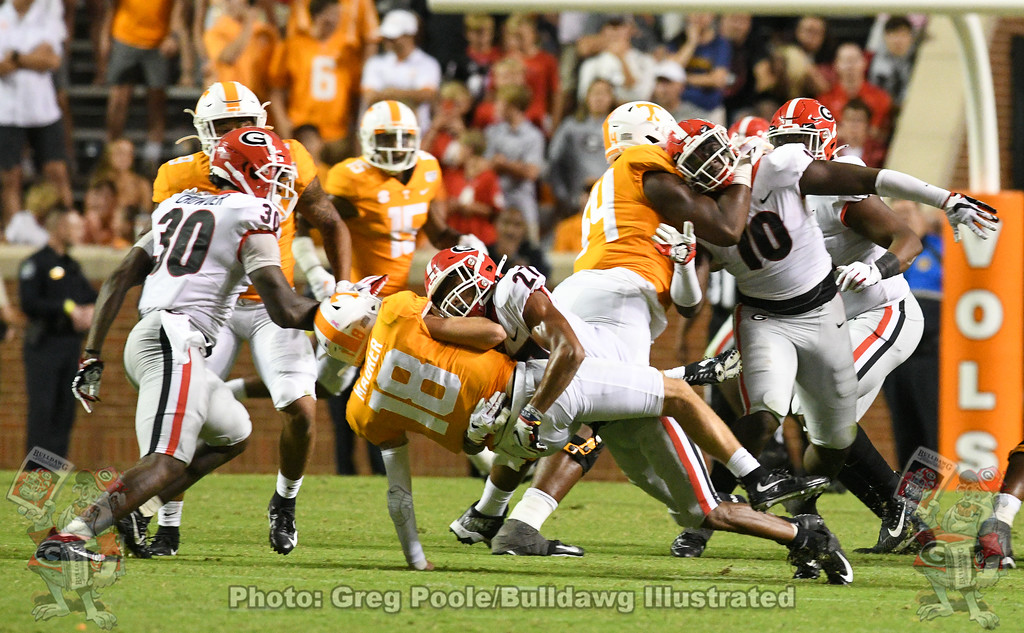 Tae Crowder (30) and Eric Stokes (27),  Georgia vs. Tennessee - Fourth Quarter,  Saturday, October 5, 2019