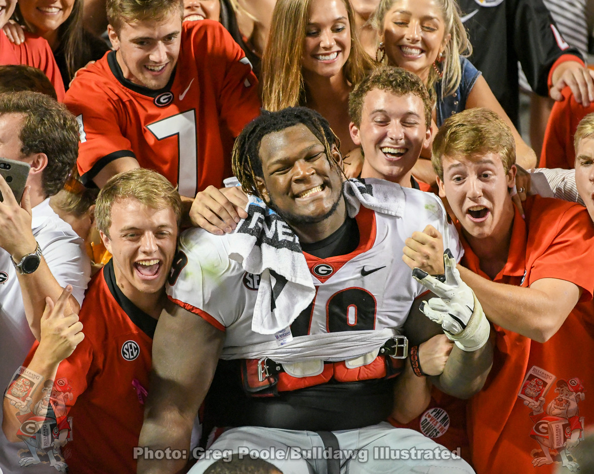 UGA offensive tackle Isaiah Wilson (No. 79) celebrates with Bulldog fans after Georgia defeats Tennessee 43-14 on Saturday, October 6, 2019 in Knoxville.
