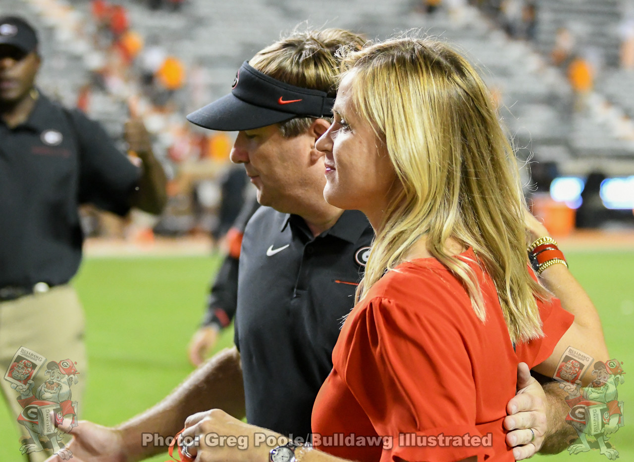 Kirby Smart with wife Mary Beth after the Bulldogs defeat the Volunteers 43-14 in Neyland Stadium, Knoxville, TN on Saturday, October 5, 2019