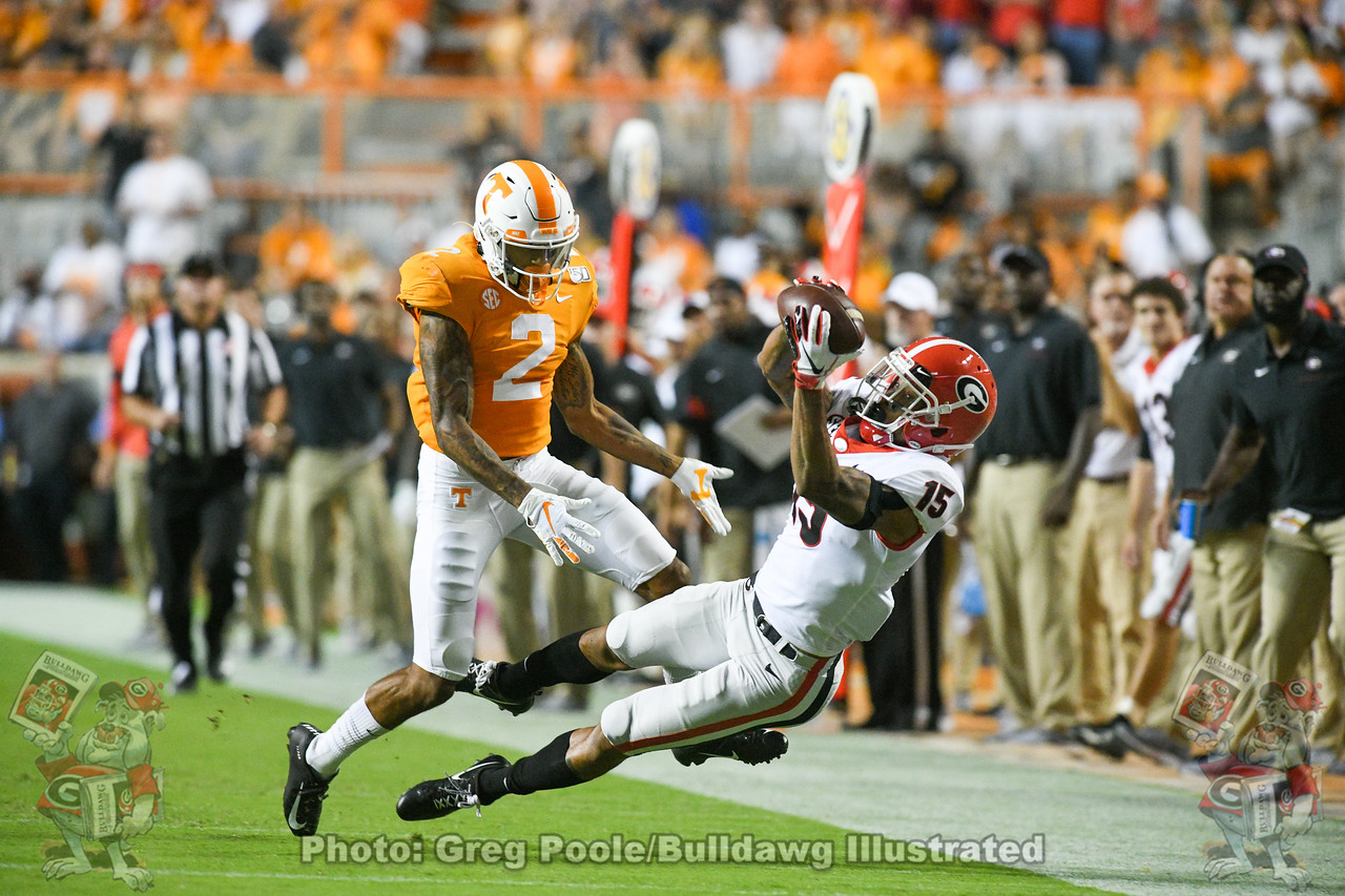 Wide receiver Lawrence Cager (15) lays out to catch the ball during the second quarter of the Tennessee game, Saturday, October 5, 2019