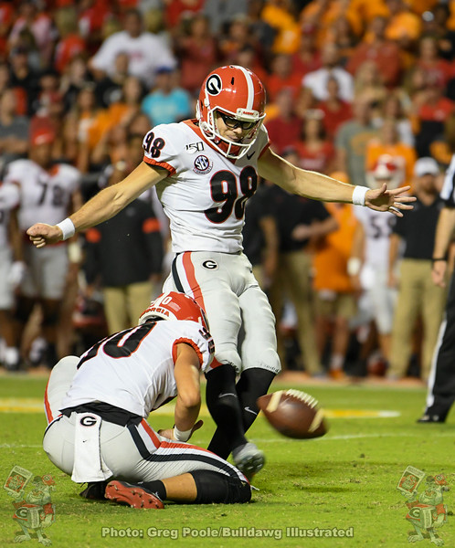Rodrigo Blankenship (98) with the kick and Jake Camarda (90) with the hold, Georgia vs. Tennessee - Third Quarter, Saturday, October 9, 2019