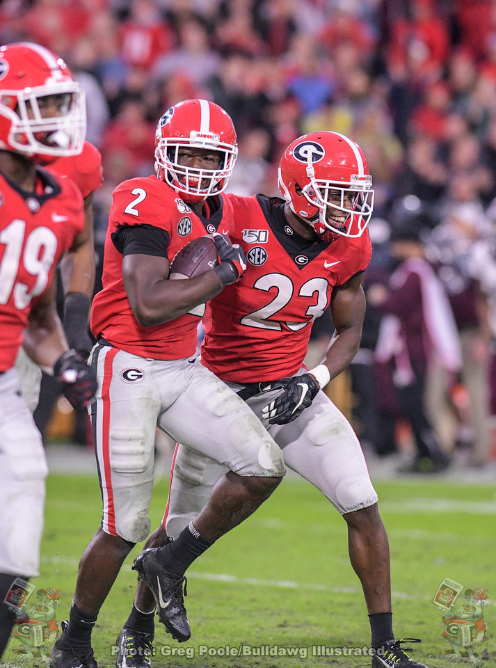UGA safety Richard LeCounte (2) force and recovered a fumble during the third quarter of the Texas A&M game, Saturday, November 23, 2019