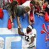 Monty Rice (32) celebrates Georgia's 26-14 Sugar Bowl win over Baylor with fans