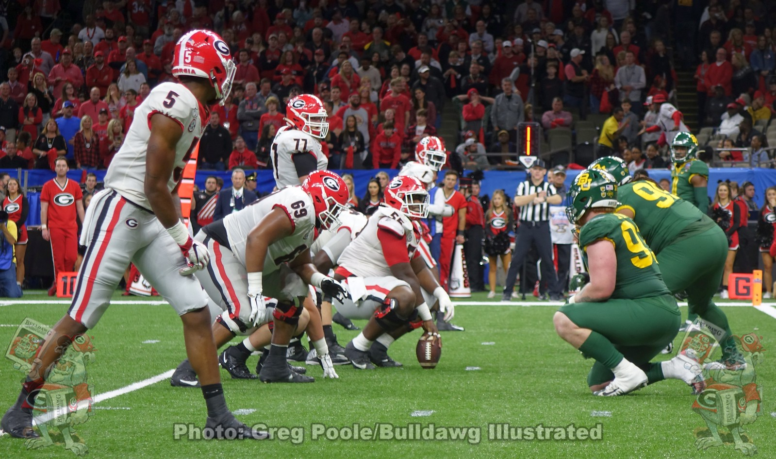 The Georgia offensive line sizes up the Baylor d-line near the end zone | Sugar Bowl Game | New Orleans, LA | Wednesday, January 01, 2020
