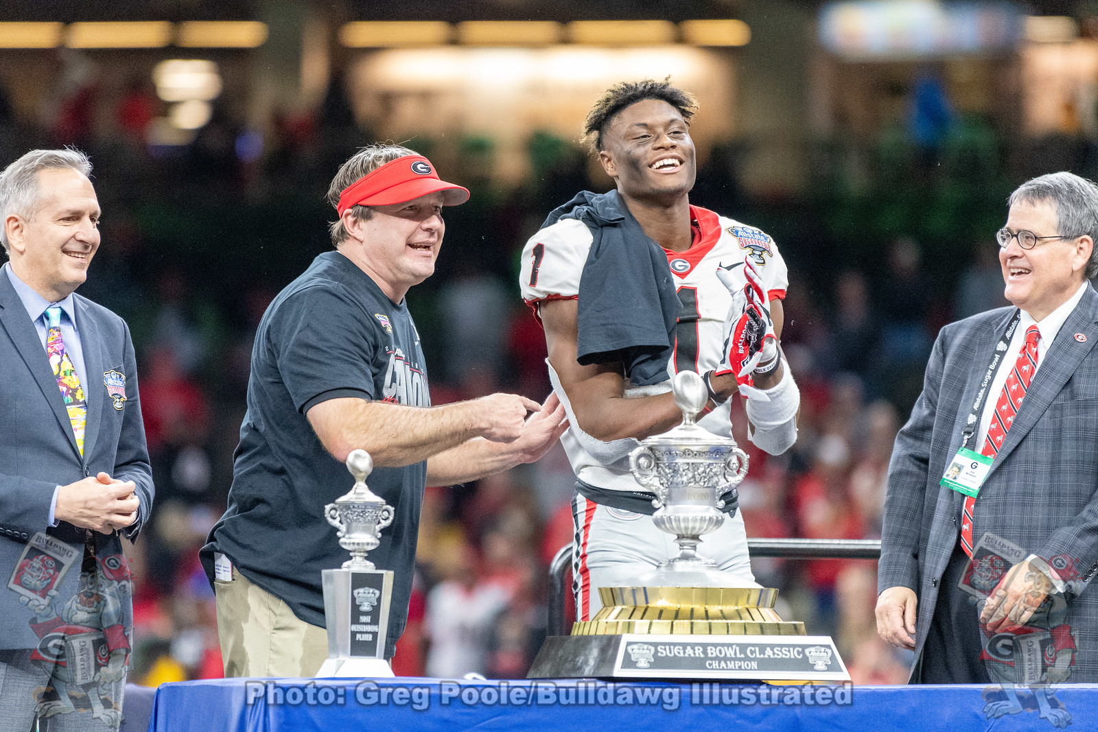 Kirby Smart and George Pickens (1) during the 2020 Sugar Bowl postgame trophy presentation on Wednesday, January 1st.