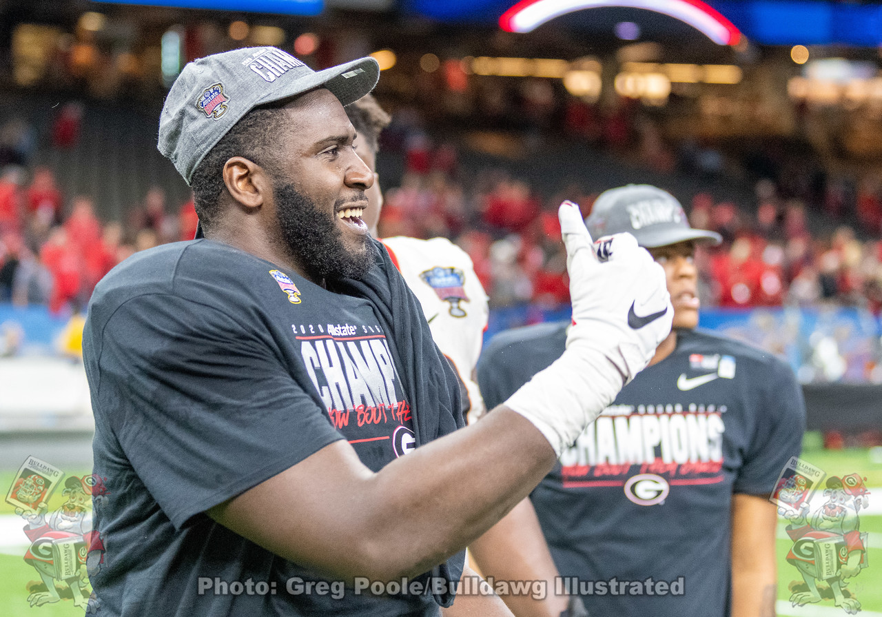 UGA d-lineman Julian Rochester gives a thumbs up during the Sugar Bowl postgame celebrations after the Bulldogs defeated Baylor 26-14 in New Orleans, LA on Wednesday, January 01, 2020