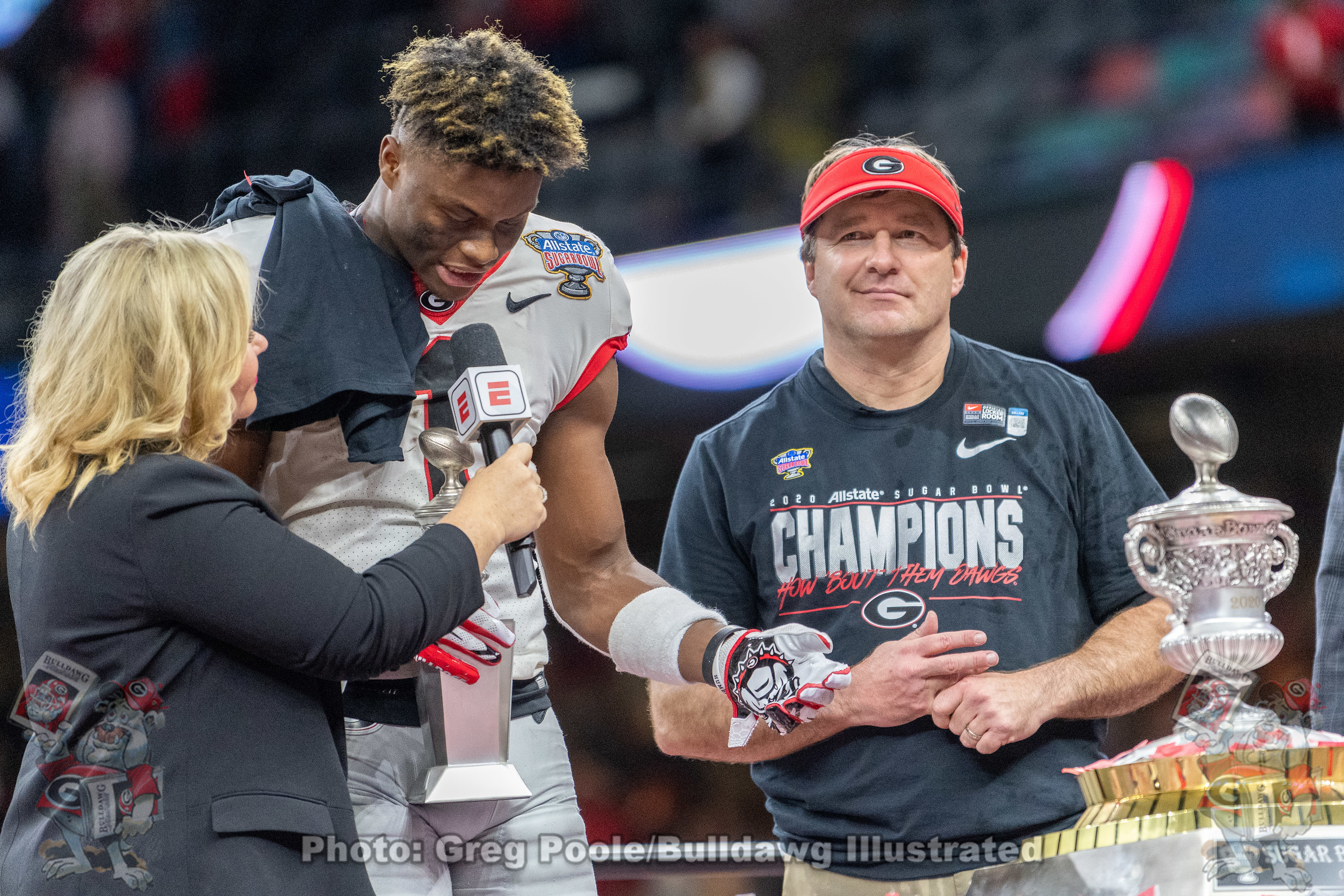 Georgia WR George Pickens (1) and head coach Kirby Smart