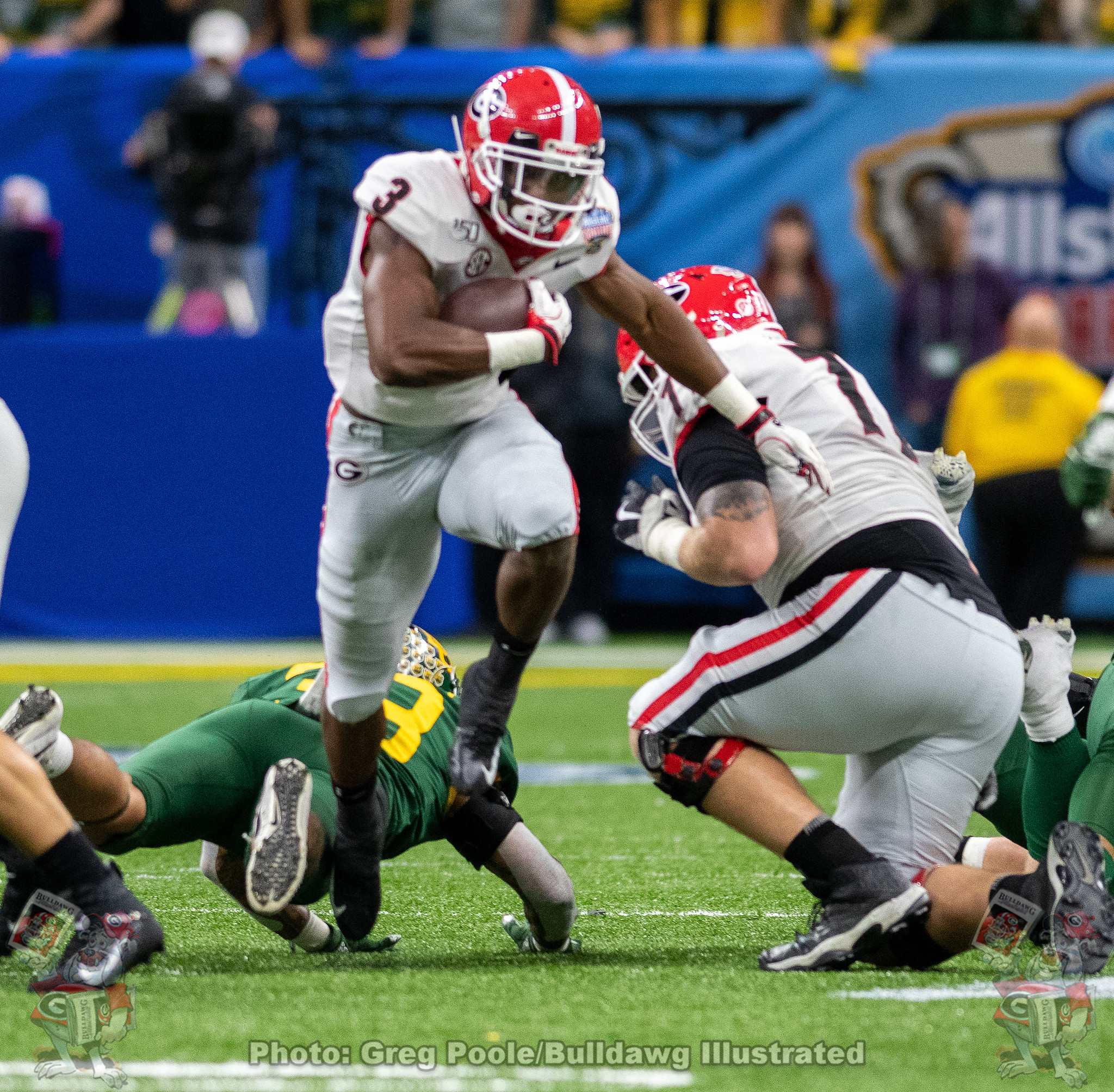 UGA running back Zamir White (3) carrying the ball with authority during the second quarter of the 2020 Sugar Bowl on Wednesday, Jan 1st
