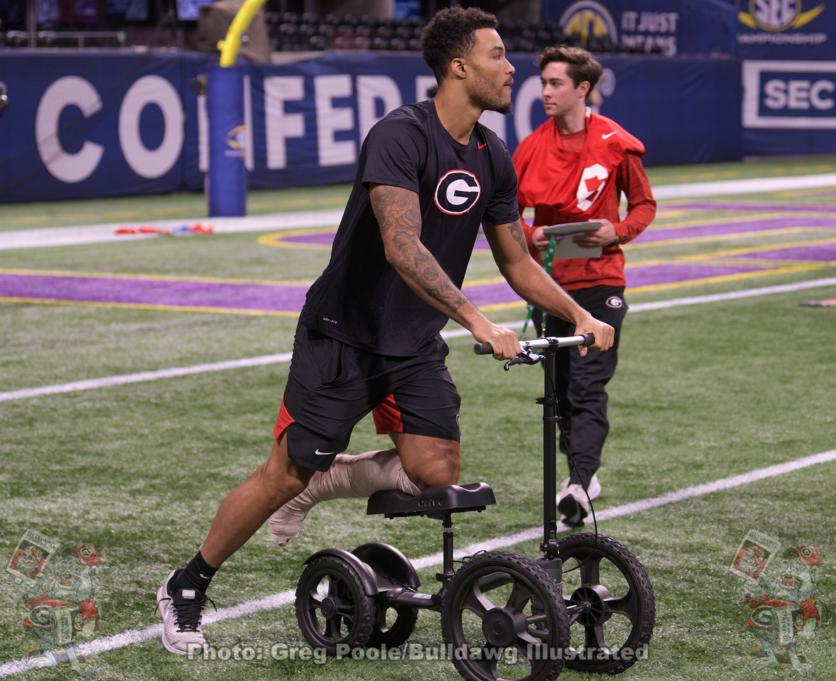 Injured UGA wide receiver Lawrence Cager during the team walk-through of Mercedes-Benz Stadium on Friday, December 6, 2019, the day before the SEC Championship Game.