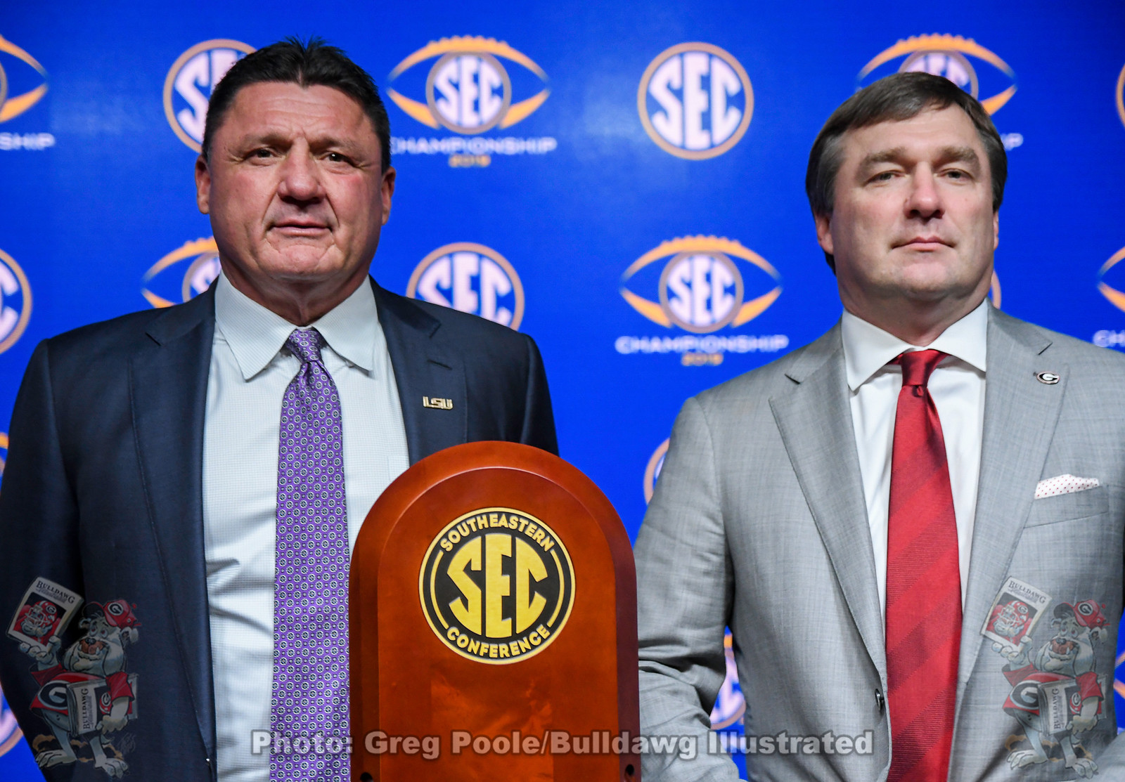 LSU head coach Ed Orgeron (left) and UGA head coach Kirby Smart (right), 2019 SEC Championship pregame press conference, Friday, December 6, 2019