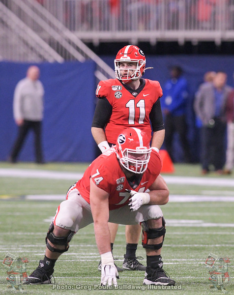 Ben Cleveland (74) and Jake Fromm (11)