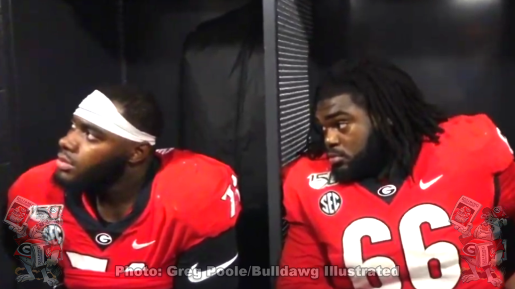 Andrew Thomas (left) and Solomon Kindley (right) during Georgia's 2019 SEC Championship postgame player interviews on Saturday, December 7, 2019