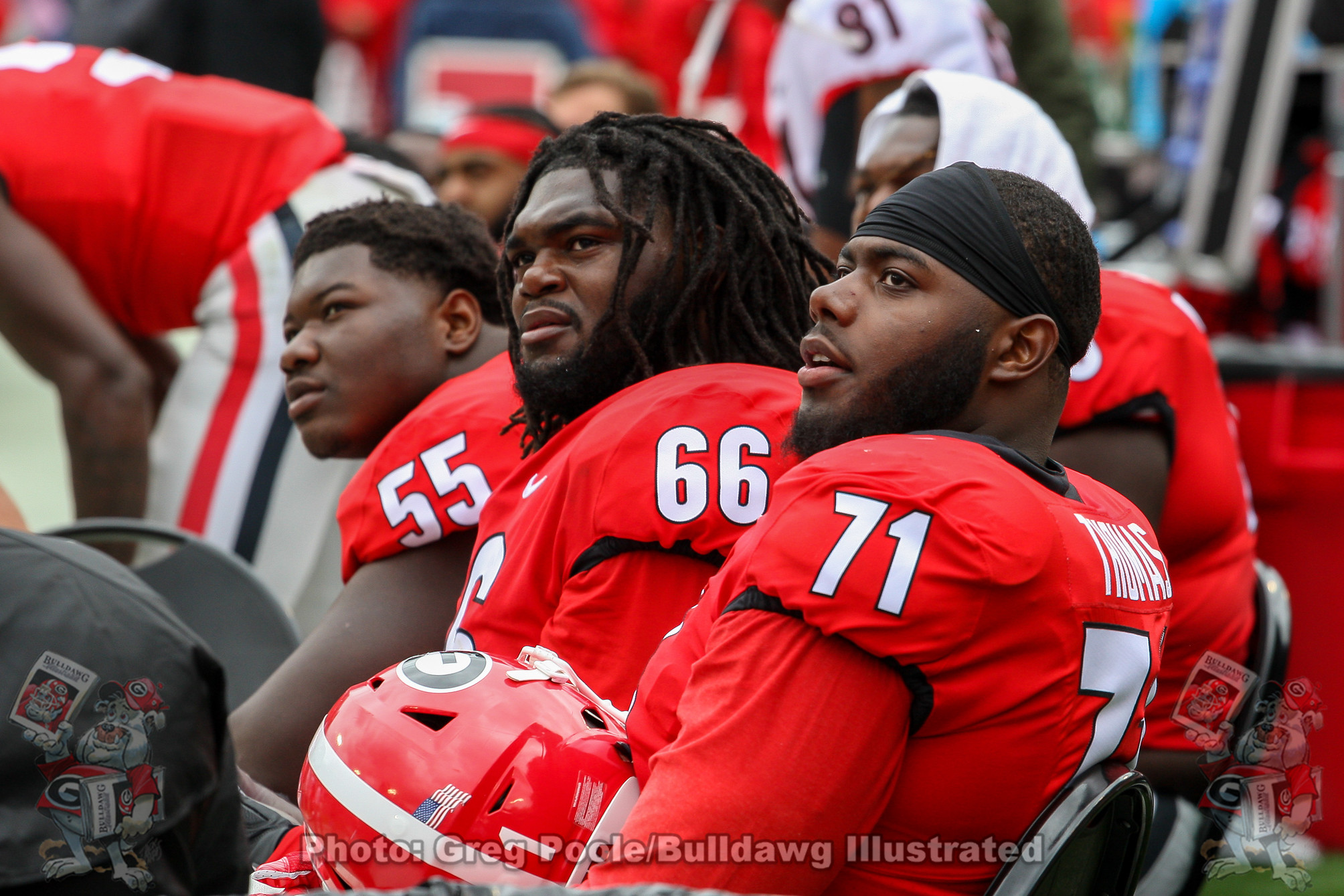 Trey Hill, Solomon Kindley and Andrew Thomas - G-Day 2019