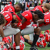 Georgia Football Players Take Part In Pre-Game Prayers In Endzone