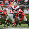 Jake Fromm (11), Trey Hill (55), Solomon Kindley (66) and D'Andre Swift (7)