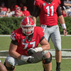 Jake Fromm (11) and Cade Mays (77)