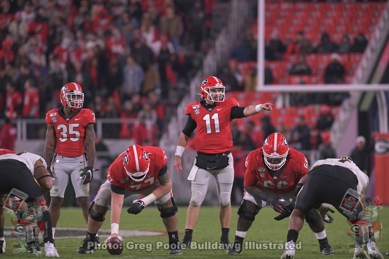 Brian Herrien (35), Jake Fromm (11), Cade Mays (77) and Solomon Kindley (66)
