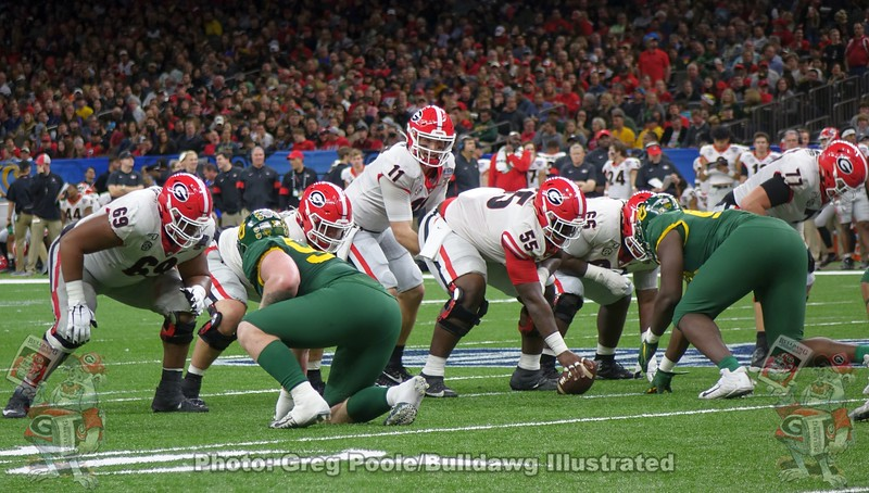Jamaree Salyer (69), Jake Fromm (11), Trey Hill (55), Solomon Kindley (66), and Cade Mays (77)
