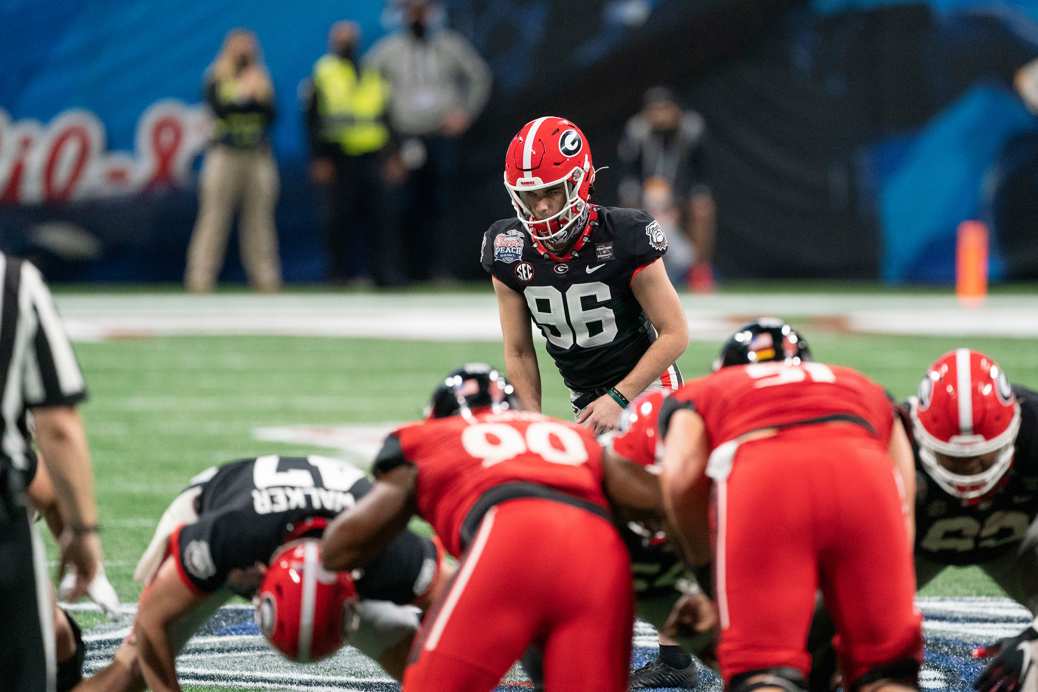 Georgia Bulldogs kicker Jack Podlesny (96) lines up prior to kicking a game-winning field goal during the Chick-fil-A Peach Bowl NCAA football game against the Cincinnati Bearcats, Jan. 1, 2021, in Atlanta. Georgia won 24-21. (Paul Abell via Abell Images for the Chick-fil-A Peach Bowl)