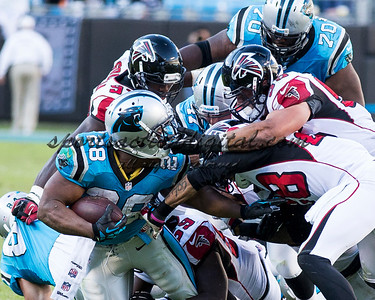 Carolina Panthers running back Jonathan Stewart (28), Atlanta Falcons outside linebacker Paul Worrilow (55)