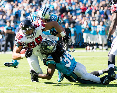 Atlanta Falcons tight end Tony Gonzalez (88), Carolina Panthers strong safety Robert Lester (38)