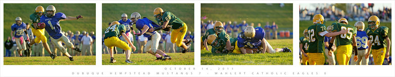 Here's a nice tackle series against cross town rival Wahlert with the date and game outcome printed on the collage.
