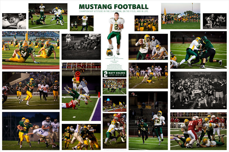 "This commemorates Matt's senior year with Mustang Football and features his accomplishments under his portrait. This collage is 20x30"" and is printed on fine art velvet paper (acid-free cotton paper, similar in appearance to watercolor paper)."