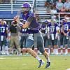 Friday, September 2, 2016; Easton, Massachusetts; Stonehill Skyhawks Matt Foltz (12) looks to make a pass during the Huskies 24-20 victory over the Skyhawks at W.B. Mason Stadium in Easton, Massachusetts.