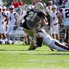 Bryant University Bulldogs wide receiver Elo Deneus (21) Brown Bears defensive back Jordan Ferguson (6)