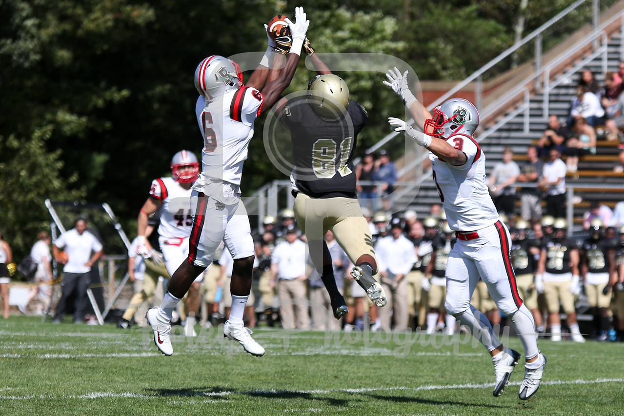 Brown Bears defensive back Jordan Ferguson (6) Bryant University Bulldogs wide receiver Keenan Thompson (81)