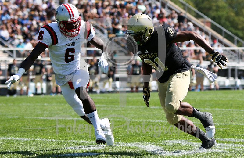 Bryant University Bulldogs wide receiver Keenan Thompson (81) Brown Bears defensive back Jordan Ferguson (6)