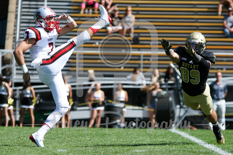 Brown Bears wide receiver Alexander Jette (7) Bryant University Bulldogs wide receiver Mitchell Baxter (89)