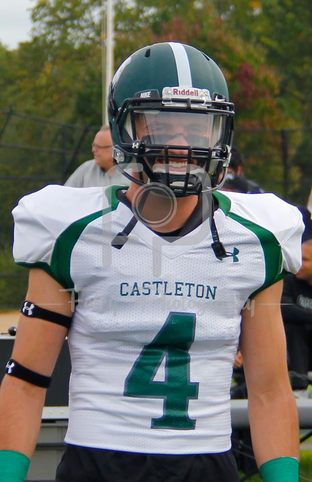 Castleton University linebacker Darren Callan (54) Castleton University defensive back Tyler Higley (4) Castleton University wide receiver Soren Pelz-Walsh (14)