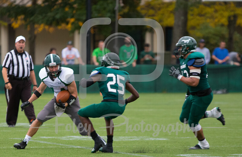 Castleton University wide receiver Soren Pelz-Walsh (14) Mount Ida Mustangs DeSean Hart (25)