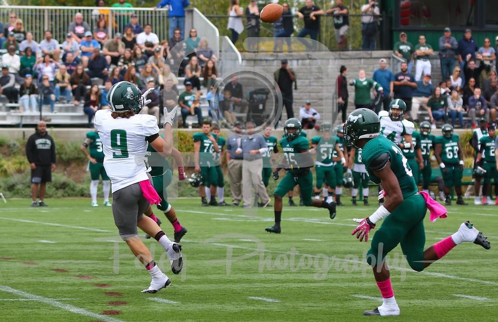 Castleton University wide receiver Anthony Porcelli (9)