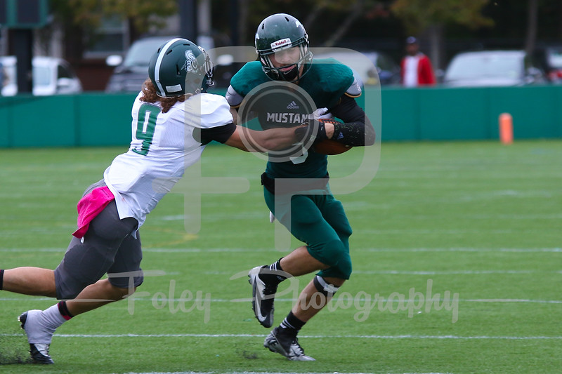 Mount Ida Mustangs Matt Greenman (5) Castleton University wide receiver Anthony Porcelli (9)