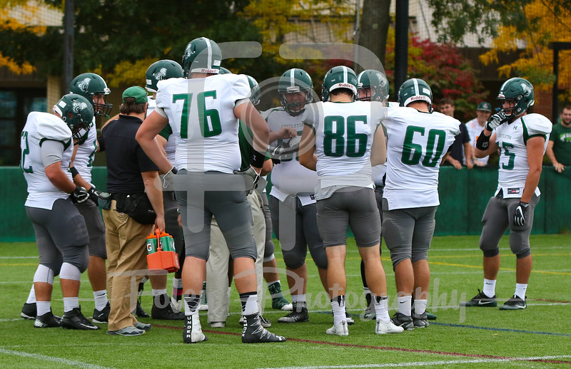 Castleton University offensive huddle
