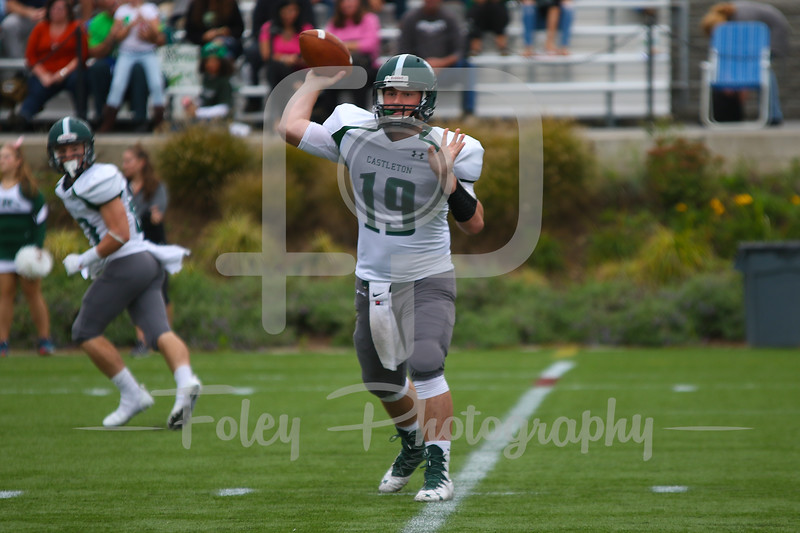 Castleton University quarterback Mitchell Caron (19)