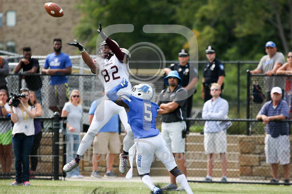 Kutztown Golden Bears wide receiver Kellen Williams (82) Assumption College Bakari Blunt (5)