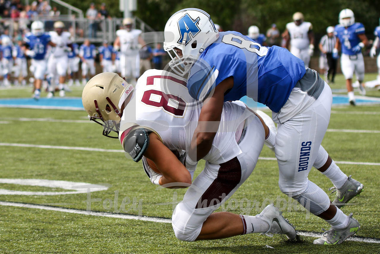 Kutztown Golden Bears wide receiver Ryan Hubley (87) Assumption College Charles Reid (8)