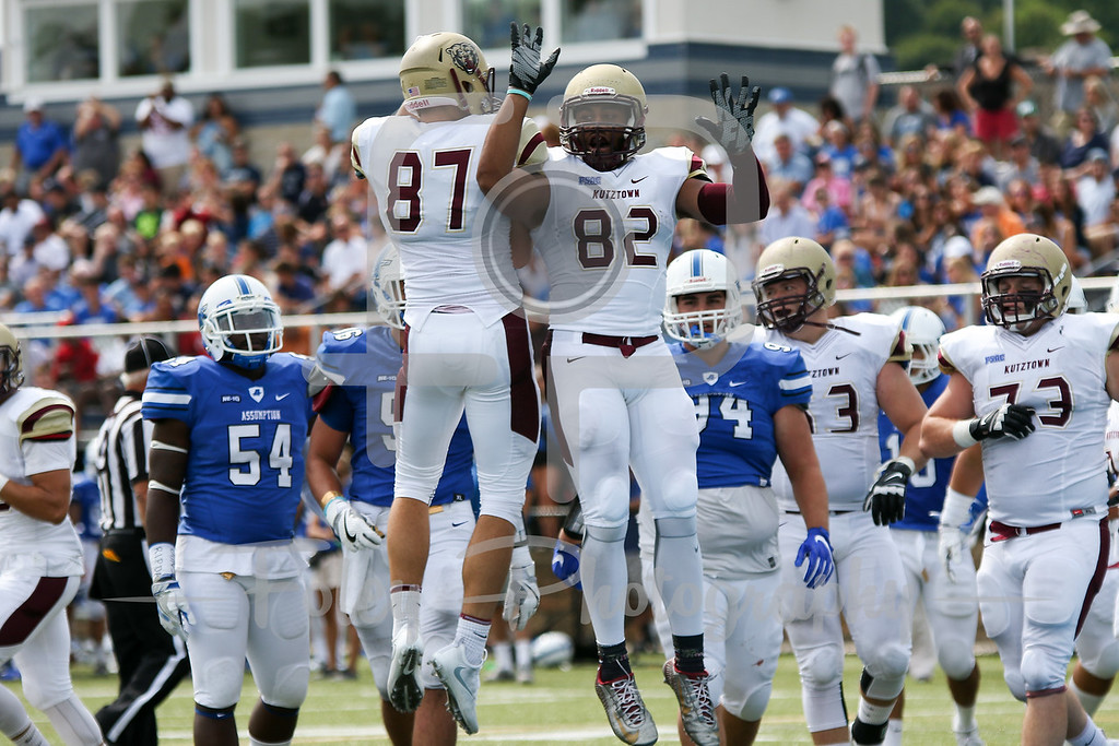 Kutztown Golden Bears wide receiver Kellen Williams (82) Kutztown Golden Bears wide receiver Ryan Hubley (87)