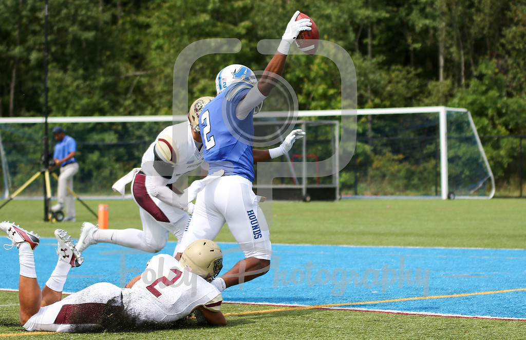 Assumption College Ashton Grant (2) Kutztown Golden Bears safety Kenny Williams (2)