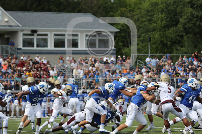 Saturday, September 3, 2016; Worcester, Massachusetts;  A mass of humanity during Assumption Greyhounds 45-21 victory over the Golden Bears at Multi-Sport Stadium in Worcester Massachusetts