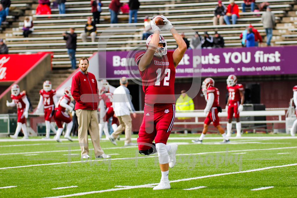 Saturday, October 29, 2016; Amherst , Massachusetts;  Massachusetts Minutemen tight end Todd Stafford (12) catches a pass during warmups before the Minutemen 34-10 victory over the Wagner Seahawks