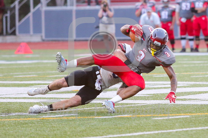 WPI Engineers Alex Domond (3) Becker College Hawks defensive back Shane Padeni (5)